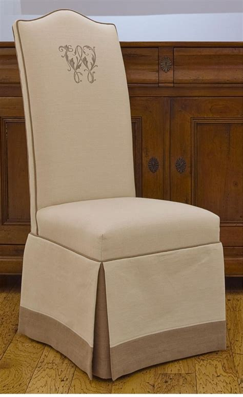monogrammed upholstered chairs skirt double welt