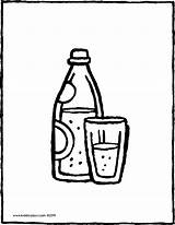 Water Bottle Glass Sparkling Colouring Coloring Pages Drawing Drink Kiddicolour Sketch Template sketch template