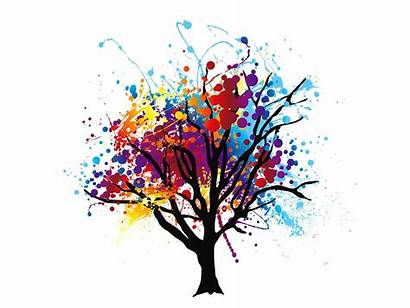 Colourful Tree Splash Abstract Painting Drawing Poster
