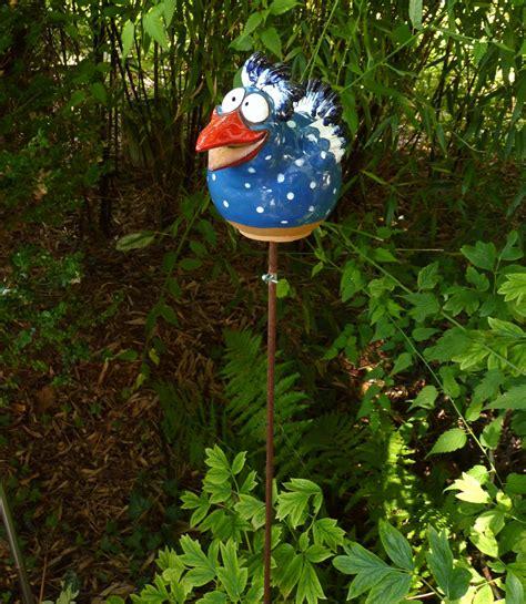 Gartendeko Hahn by Gartenstecker Beetstecker Fantasie Vogel Hahn Keramik Blau