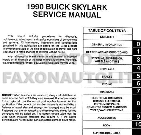 free online car repair manuals download 1990 buick skylark engine control 1990 buick skylark repair shop manual original