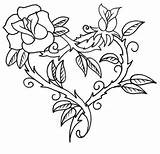 Coloring Roses Pages Hearts Thorn Rose Sharp Tattoo Printable Broken Thorns Adults Drawing Heart Crosses Adult Colorluna Cross Wings Drawings sketch template