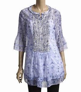 ELIE TAHARI Blue Print Silk JILLIE Blouse Top Tunic