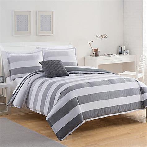 izod 174 brandon stripe reversible comforter set in grey