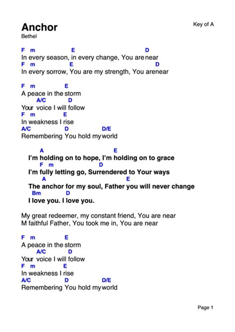 anchor bethel worship chord chart printable