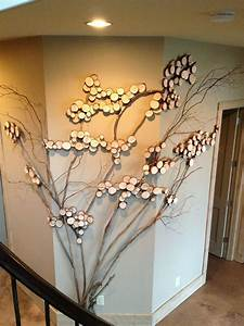 Three sided wall art tree art twig art for wall decor for How to decorate walls with art