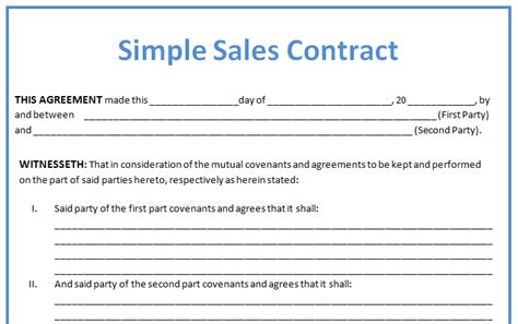 Simple Business Contract Example For Sales With Blank