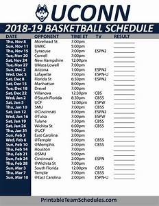 Printable UCONN Basketball Schedule 2018-19