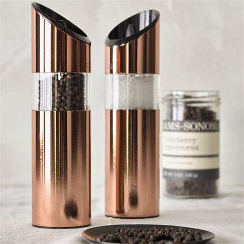 trudeau graviti copper electric salt pepper grinders williams sonoma