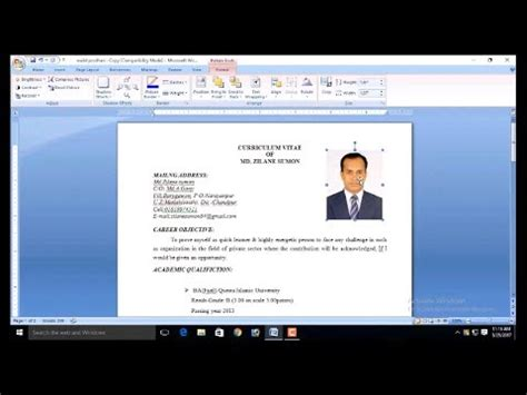 Add Picture To Resume by How To Add Picture Resume And Cv Bangle How To Insert