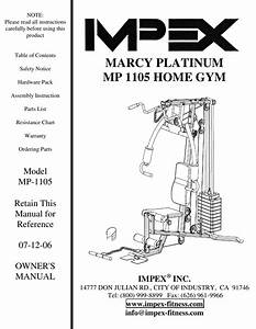 Impex Fitness Mp 1105 Owners Manual Parts List