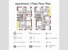 E Apartment Building Floor Plans for 2 or 3 BHK Flats on