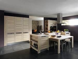 cuisine bois modele design attitude With idee deco cuisine avec salle À manger contemporaine bois massif
