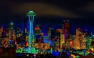 Surreal Seattle Skyline Photograph by Ron Fleishman
