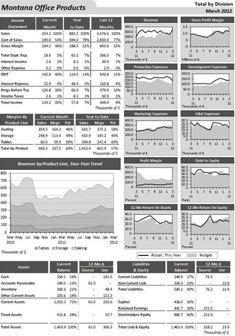 a monthly financial dashboard that combines standard tables charts