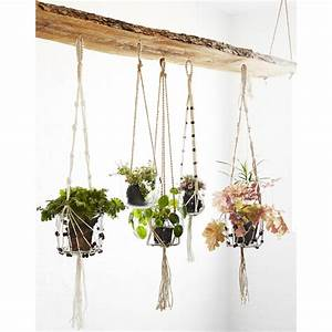 Pot De Fleur Suspendu : suspension plante corde tress e ecru frange perle madam ~ Premium-room.com Idées de Décoration