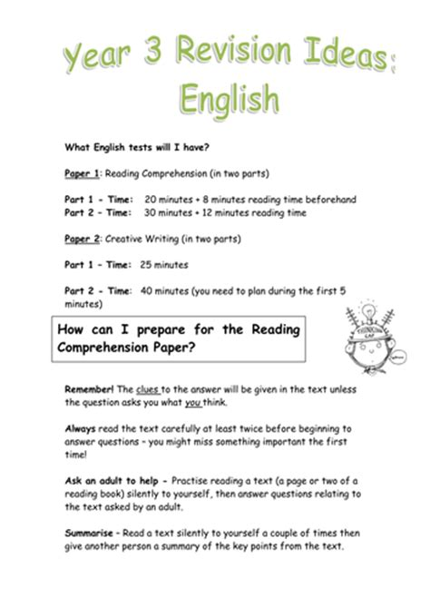 revision pack for year 3 end of yr exams by lathburg