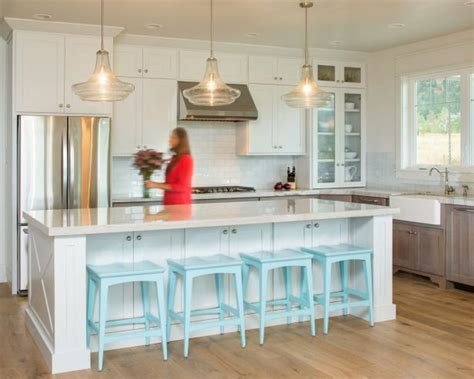 transitional white kitchen  robins egg blue