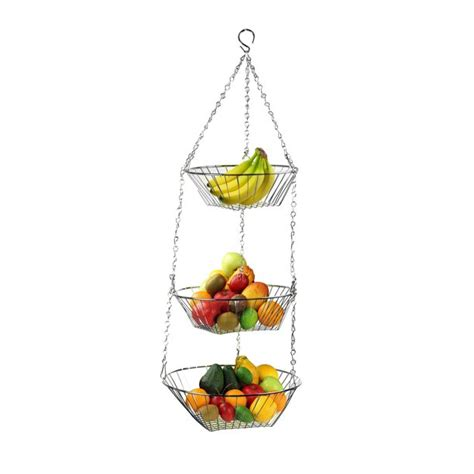 3 tier wire hanging fruit basket chrome