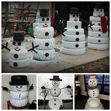 creative ideas diy adorable snowman decor   tires
