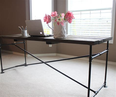 iron pipe desk plans industrial pipe desk just like playing house