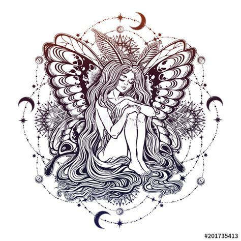"""This beautiful design creates a beautiful, yet easy to make project. """"Moth girl butterfly with long hair star mandala."""" Stock ..."""