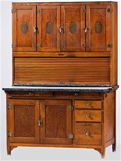 cabinet hoosier sellers oak 6 paneled doors 1 tambour door 5 drawers enameled top 69 inch