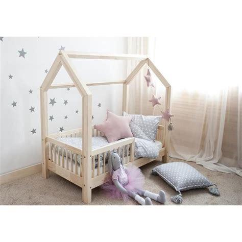 lit cabane enfant lit cabane bois massif avec barrieres 80x190cm achat