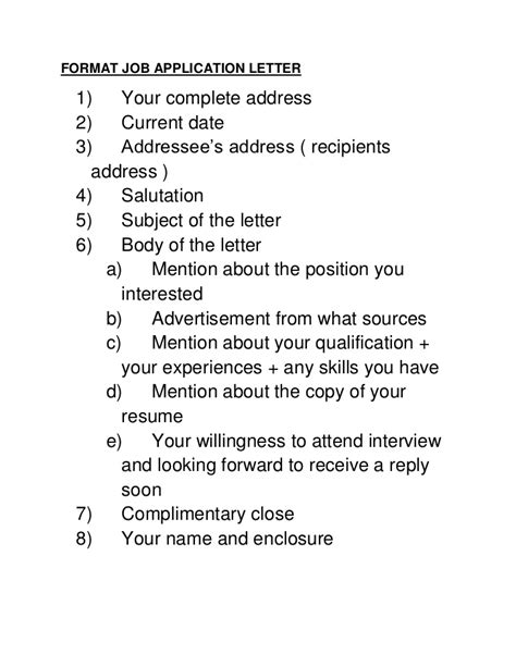 format application letter
