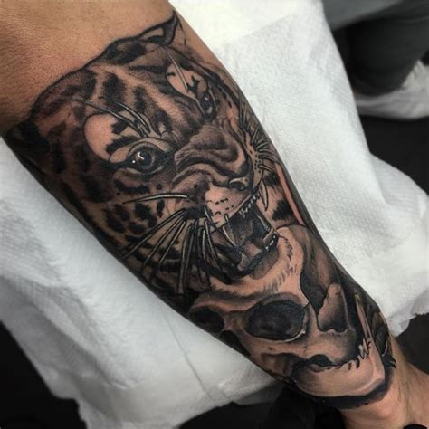 neo traditional tiger  skull   forearm