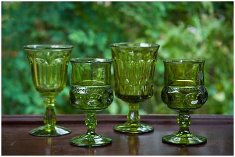 vintage green colored glass goblets
