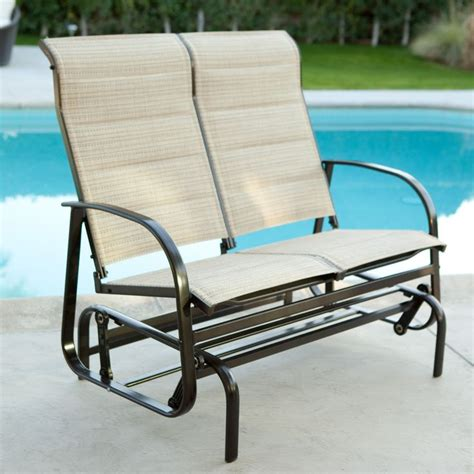 coral coast padded sling outdoor glider loveseat