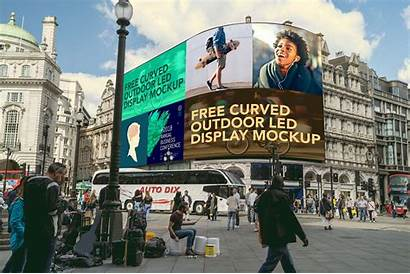 Outdoor Mockup Led Advertising Display Curved Psd