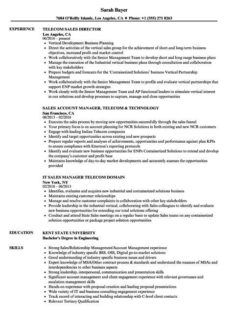 Telecom Sales Resume by Telecom Sales Resume Sles Velvet