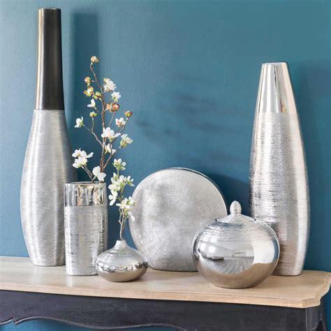 vase boule en gres argente   cm vase boule gres  maison du monde