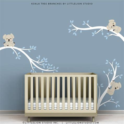 baby wall decals for nursery decor white tree blue leaves
