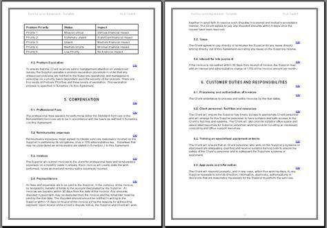 sla template hr service level agreement template