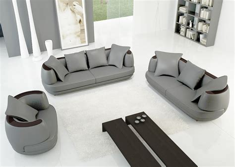 deco in ensemble canape 3 2 1 places en cuir gris