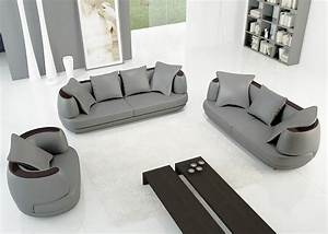 deco in paris ensemble canape 3 2 1 places en cuir gris With canape cuir gris 3 places