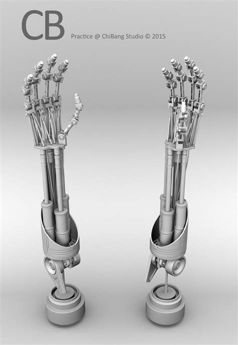 Robotic Terminator Arm T-800 Maya 3D model - Ambient Occlusion 2 arms perspective view. As of 79