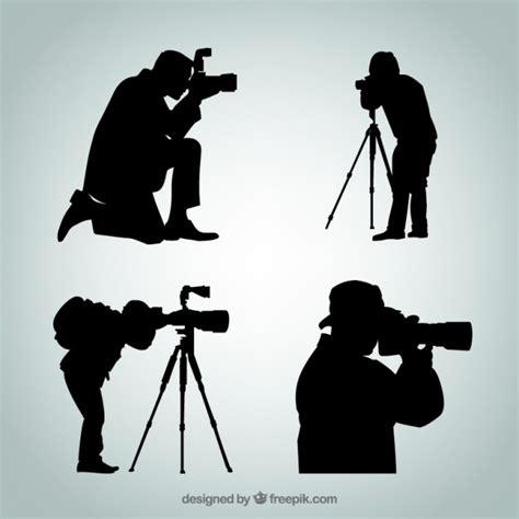 silhouettes of photographer vector free download