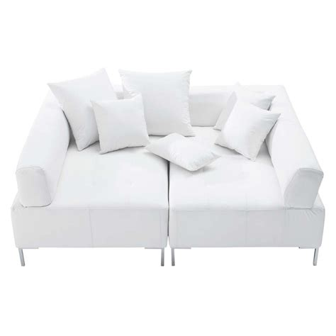 canape cuir 4 places canapé modulable 4 places imitation cuir blanc duo