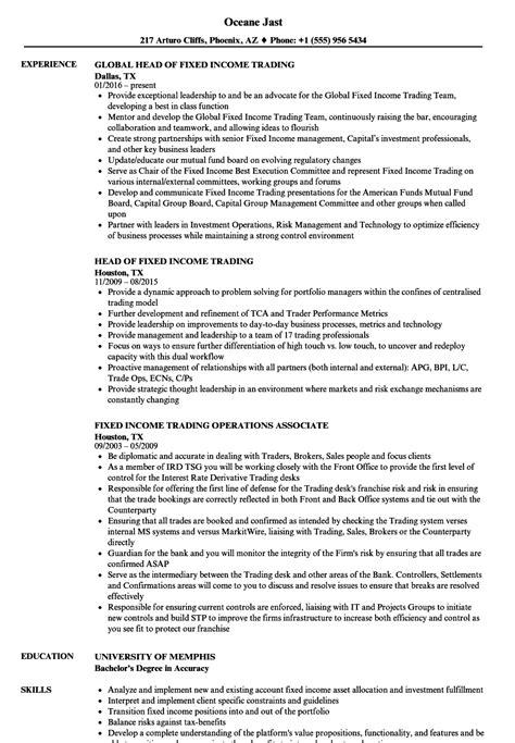 fixed income trading resume samples velvet jobs