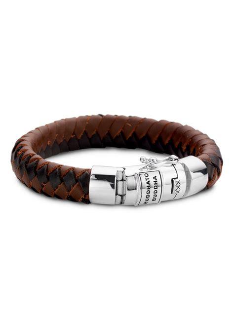 buddha  buddha armband ben mixed van zilver en leer bruin de bijenkorf