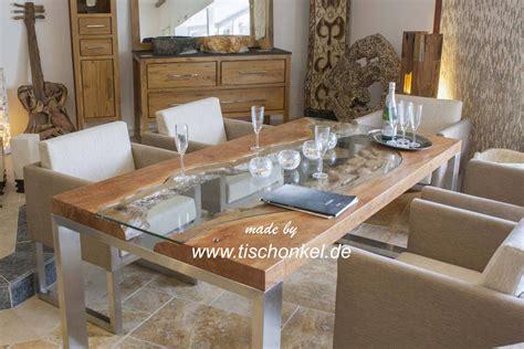 Tisch Holz Glas by Esstisch Quot Elements Quot Aus Massivholz Edelstahl Und Glas