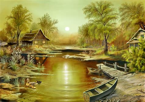 Nature Painting Wallpaper by ا مید صبح Amazing Paintings