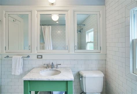 Inset Bathroom Mirror by Mirrored Medicine Cabinet Bathroom Traditional With Green