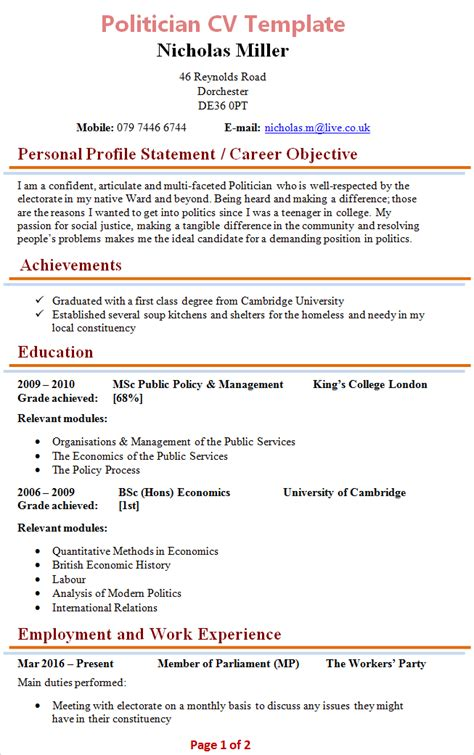 politician cv template