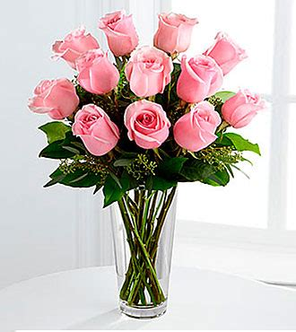 long stem pink rose bouquet vase included