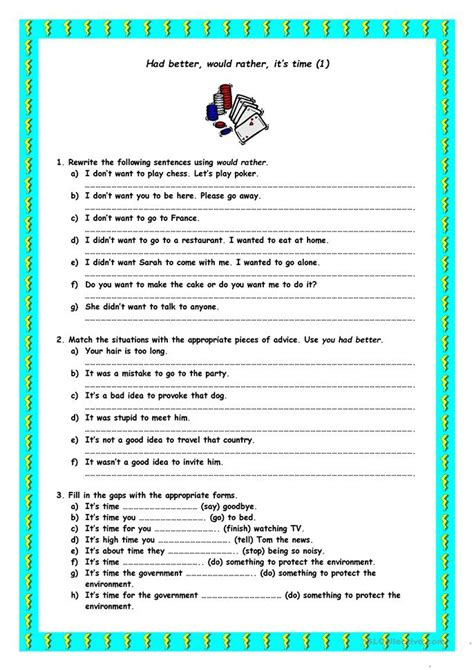 Had Better, Would Rather, It's Time Worksheet  Free Esl